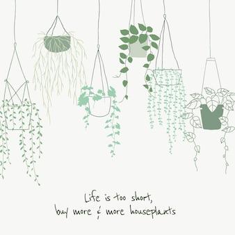 ソーシャルメディアのためのかわいい植物愛好家の引用テンプレートベクトル落書き