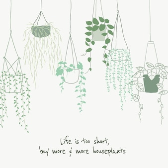 Cute plant lover quote template vector doodle for social media