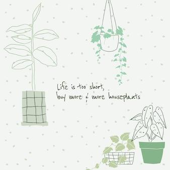 Scarabocchio di vettore del modello di citazione dell'amante delle piante carino per i social media