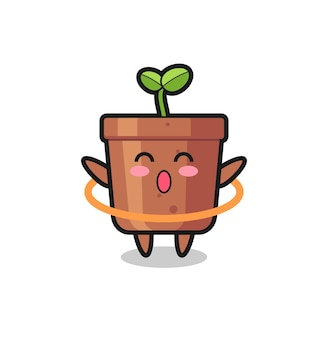 귀여운 식물 냄비 만화는 훌라후프, 티셔츠, 스티커, 로고 요소를 위한 귀여운 스타일 디자인을 하고 있습니다
