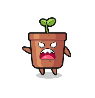 Cute plant pot cartoon in a very angry pose , cute style design for t shirt, sticker, logo element