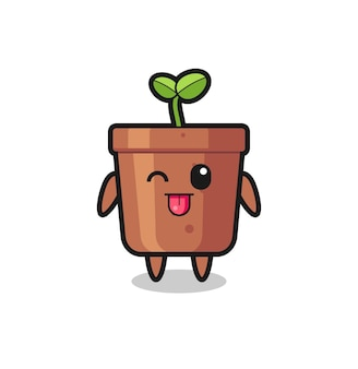 Cute plant pot character in sweet expression while sticking out her tongue , cute style design for t shirt, sticker, logo element