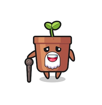 Cute plant pot grandpa is holding a stick , cute style design for t shirt, sticker, logo element