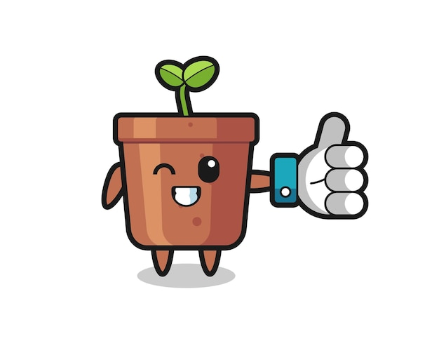 Cute plant pot with social media thumbs up symbol , cute style design for t shirt, sticker, logo element