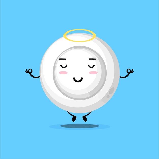 ヨガのポーズで瞑想するかわいいお皿のキャラクター