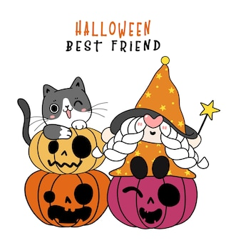 Cute playful black kitten cat with happy witch gnome halloween on orange pumpkin cartoon character