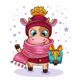 Cute playful cow in knitted hat and scarf gives christmas gift . holiday illustration, symbol of 2021 year. christmas character.