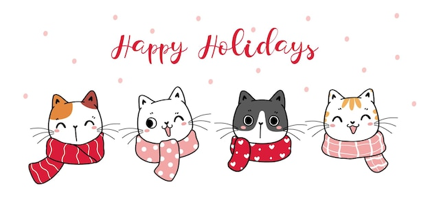 Cute playful kitten cat head face with winter scarf cartoon hand drawn happy holiday banner
