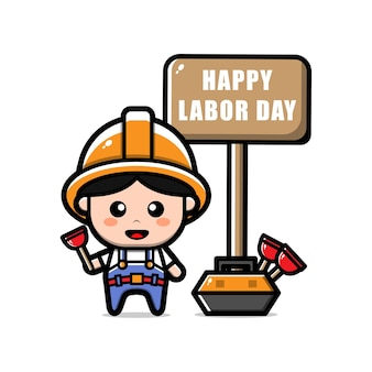 Cute plumber worker character labour day concept illustration