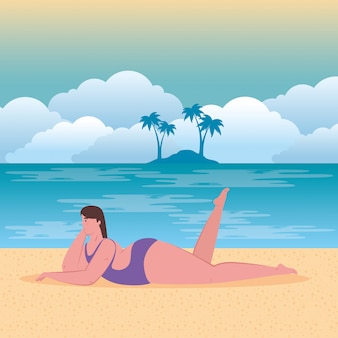 Cute plump woman in swimsuit purple color on the beach, summer vacation season