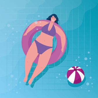 Cute plump woman using swimsuit purple color in lifeguard float circle, in the pool vector illustration design