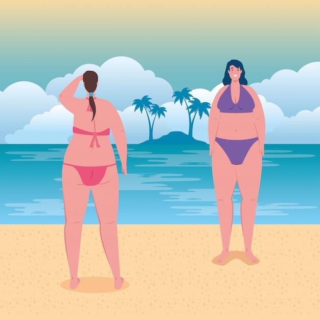 Cute plump women in swimsuit in the beach, group women happy in summer vacation season vector illustration design