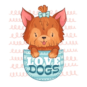 Cute pocket dog. love dogs, little puppy and cartoon pet  illustration