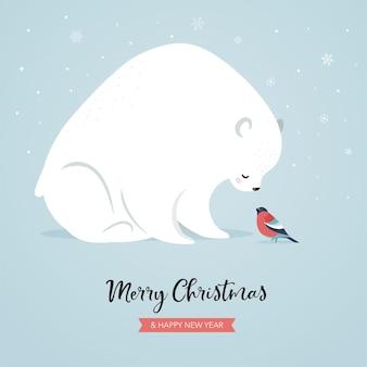 Милый полярный медведь и снегирь, зимняя и рождественская сцена. идеально подходит для дизайна баннеров, поздравительных открыток, одежды и этикеток.