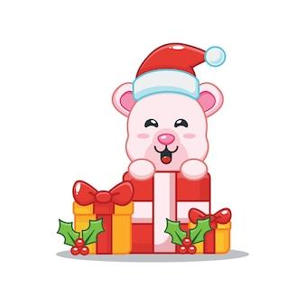 Милый полярный медведь и рождественская подарочная коробка милая рождественская карикатура