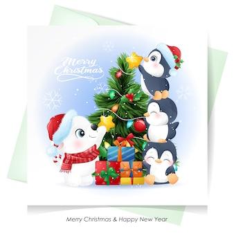 Милый белый медведь и пингвин на рождество с акварельной открыткой