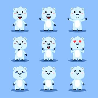 Набор милых полярных медведей с животными