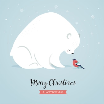 Cute polar bear and bullfinch, winter and christmas scene. perfect for banner, greeting card, apparel and label design.