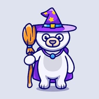 Cute polar bear carrying flying broom