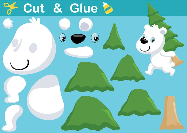 Cute polar bear carrying pine tree on its back. education paper game for children. cutout and gluing.   cartoon illustration
