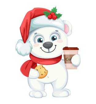 Cute polar bear cartoon character with coffee and cookie