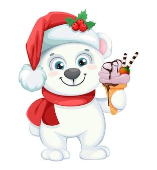 Милый белый медведь мультипликационный персонаж с мороженым