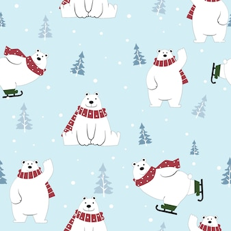 Cute  polar bear cartoon happy on winter seamless pattern.