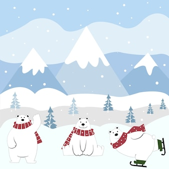 Cute polar bear cartoon happy on winter.