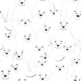 Cute polar bear cartoon seamless pattern.
