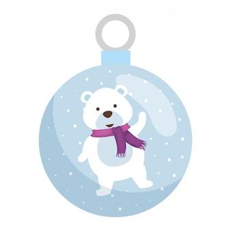 Cute polar bear christmas character
