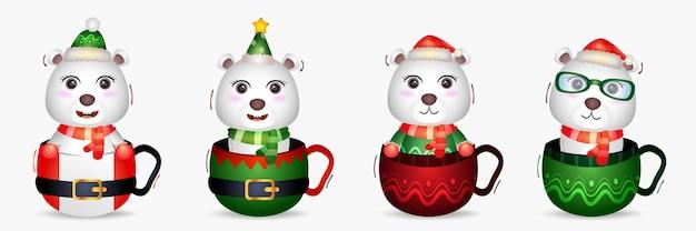 帽子とかわいいホッキョクグマのクリスマスキャラクターコレクション