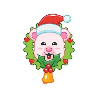 Cute polar bear in christmas day cute christmas cartoon illustration