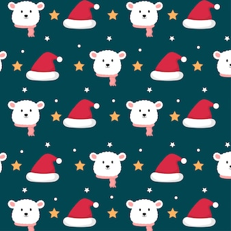 Cute polar bear in christmas theme seamless pattern Premium Vector