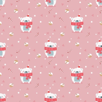 Cute polar bear  in christmas winter theme seamless pattern