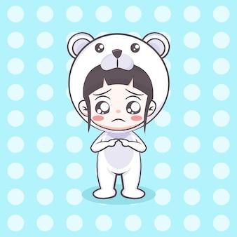 Cute polar bear costume girl cartoon illustration
