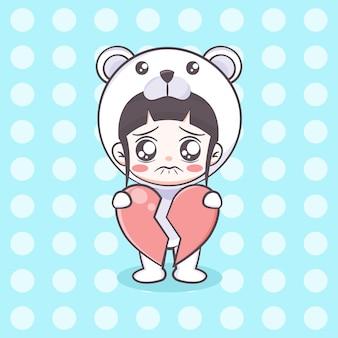 Cute polar bear costume girl holding a broken hearth cartoon illustration
