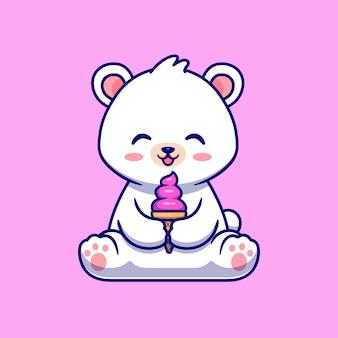 Cute polar bear eating ice cream cone illustration