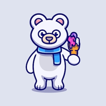 Cute polar bear eating ice cream illustration