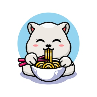 Милый белый медведь ест рамэн с мультяшным палочек для еды