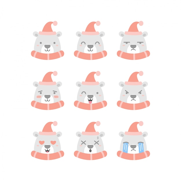 Cute polar bear emoticon set