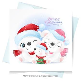 Симпатичная семья белых медведей на рождество с акварельной картой