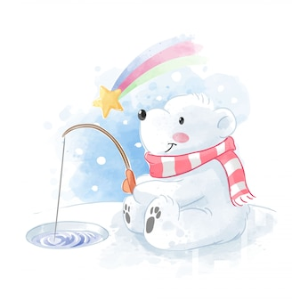 Cute polar bear fishing with meteor illustration