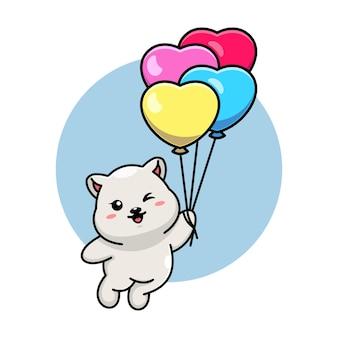 풍선 만화에 떠있는 귀여운 북극곰