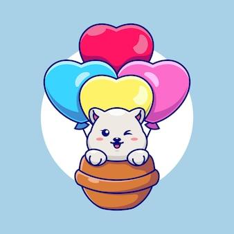 사랑 풍선 만화와 함께 비행하는 귀여운 북극곰