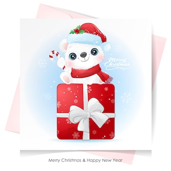 Милый белый медведь на рождество с акварельной открыткой