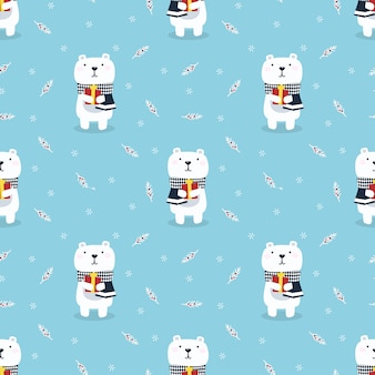 Cute polar bear hold a gify in christmas season seamless pattern