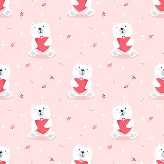 Cute polar bear hold a heart seamless pattern.
