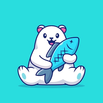 Cute polar bear holding big fish   icon illustration. animal love icon concept   .
