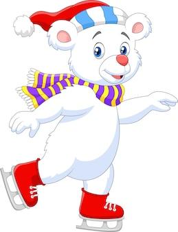 귀여운 북극곰 아이스 스케이팅