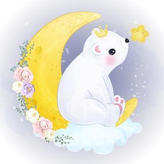 Симпатичная иллюстрация белого медведя в акварельном эффекте
